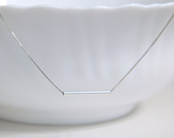 Sterling Silver Choker Necklace, Sterling Silver Tube Pendant ,Choker Necklace, Layering Necklace, Gift for Her, Gift for Girlfriend