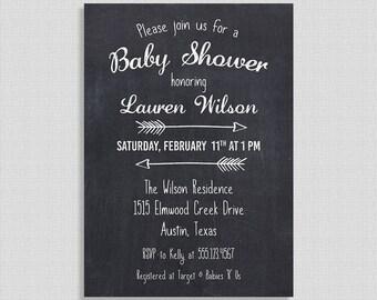 Tableau Baby Shower Invitation, craie bébé Invite, flèche, sexe douche neutre, bricolage imprimable