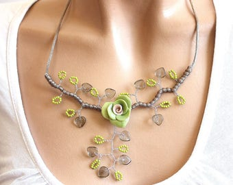 Taupe and green floral necklace