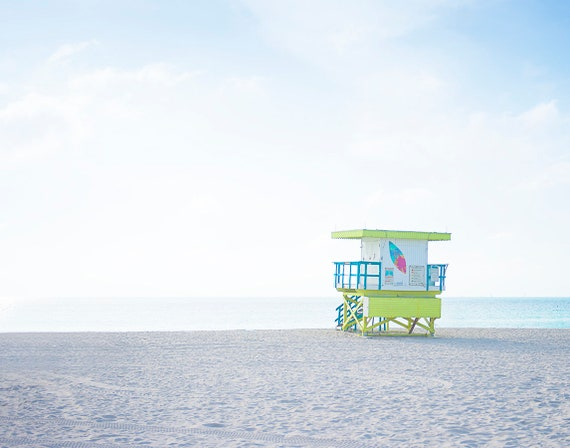 Beach Art, Lifeguard Stand Photo, Pastel Print, Teen Room Art, Childrens Decor, Coastal Decor. Bright Pastels