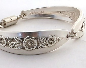 Spoon Bracelet Primrose 1952 Birth Flower for  February Birthday Gift Handmade Vintage Silverware Jewelry Silver Upcycled Flatware