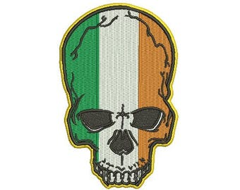 Irish skull embroidery design