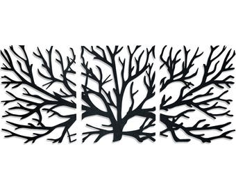 Crawling Branches 3-Piece Metal Wall Art
