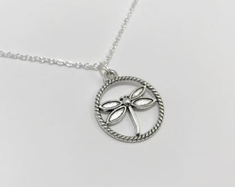 Silver Dragonfly Necklace/Dragongly Necklace/Outlander Dragonfly Necklace