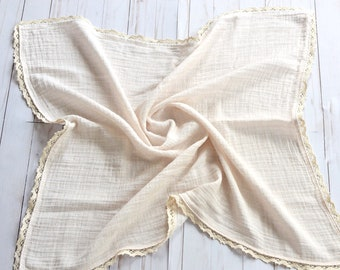The Lovie Ivory Mudcloth Muslin Blanket with Crochet Trim