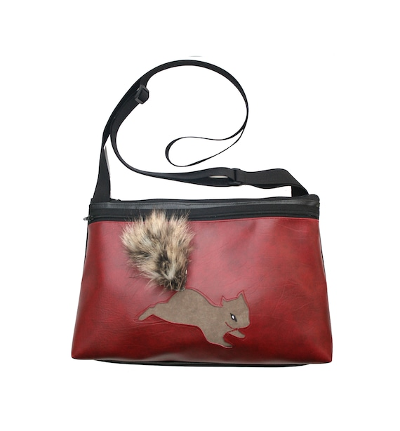 Squirrel, dark red vinyl, fake fur, medium crossbody, vegan leather, zipper top