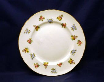 Vintage Staffordshire England Bouquet Fine Bone China Salad Plate, 1940s