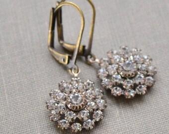 Snowball Rhinestone, Estate Earrings, Old Hollywood Rhinestone Cluster Antiqued Brass Vintage Bride Vintage Wedding Bridesmaid Jewelry Gift