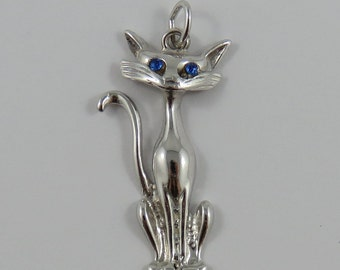 Cat With Blue Eyes Sterling Silver Vintage Charm For Bracelet