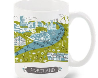 Portland Mug-City Mug-Coffee-Tea-Kitchen-PDX Mug-Custom Mug Gift-Mug Packaging-Personalized-Custom