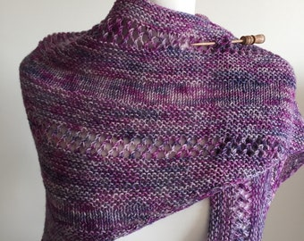 Hand knitted shawl made with hand dyed yarn