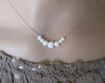 Opal necklace, opal ball necklace, opal silver necklace, opal jewelry, tiny dot necklace, opal bead necklace, fire opal, white