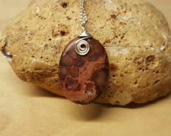 Purple jasper necklace. Sea sediment jasper pendant. Reiki jewelry uk. Silver plated wire wrapped pendant. 30x22mm stone