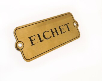 French Brass Plaque Fichet Bras Sign 1930s