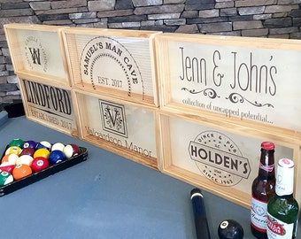 Personalized Beer Bottle Cap Shadow Box - Large