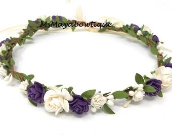 Flower crown wedding, flower crown purple, flower girl flower crown, bridal flower crown, flower crown adult, flower crown for women