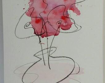 Watercolor original. Abstract art. A3. Vivid and imaginative. Unique. No pressure. Not framed.