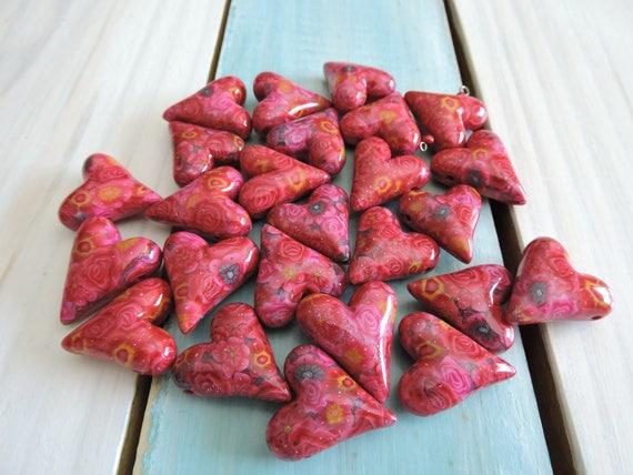 25 Piece Heart Bead Lot # 8