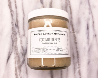 Coconut Dreams Emulsified Scrub | Glass Jar | Body Scrub |Exfoliating Scrub |Emulsified Sugar Scrub |Natural Body Scrub |Organic Sugar Scrub