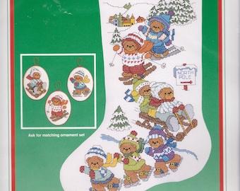 "Dimensions ""Winter Fun"" Bears Skating Ski Sled Christmas Cross Stitch Stocking Kit 8377"