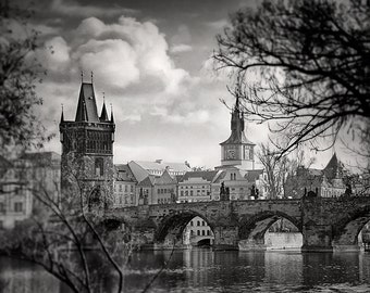 Charles Bridge Photo, Prague Photography, Black And White Photography,Travel Photography. FineArt Photography