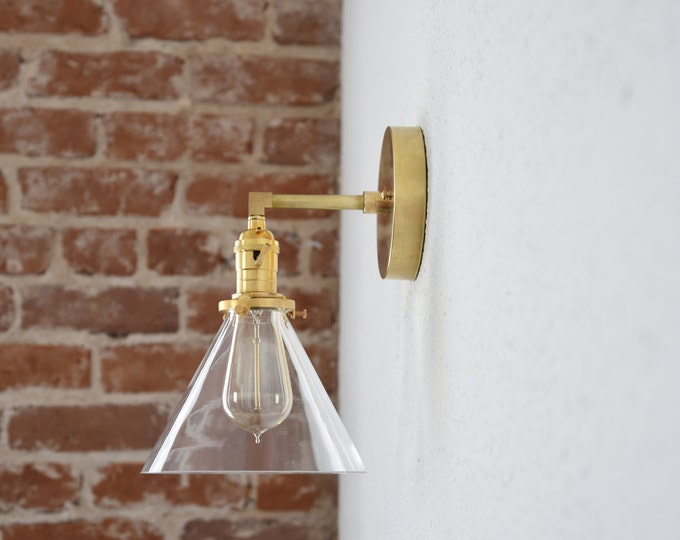 Raw Brass Gold Single Light Wall Sconce Clear Cone Glass Shade Vanity Century Industrial Modern Art UL Listed