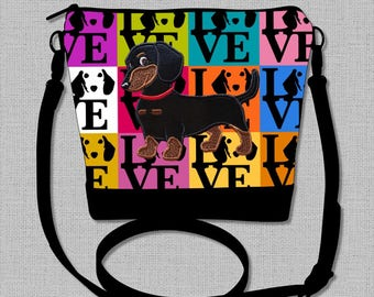 Dachshund Cross Body Bag with a Flirty Black and Tan Smooth Hair Dachshund  - Made to Order