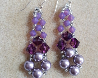Purple Geetha Swarovski Earrings