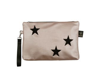 Star diaper clutch,Rose Gold cosmetic pouch, Teen girls gifts idea, Metalic silver pouch
