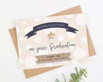 Graduation Card Personalised White Spot