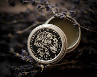 Lavender + Cade - natural solid perfume - smoked lavender botanical perfume, dark, herbal, blue lavender, smoky juniper wood