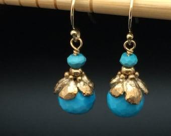Sleeping Beauty Turquoise Earrings, Bronze Flower Earrings, Turquoise Earrings, Turquoise flower earrings, Dainty Earrings under 60