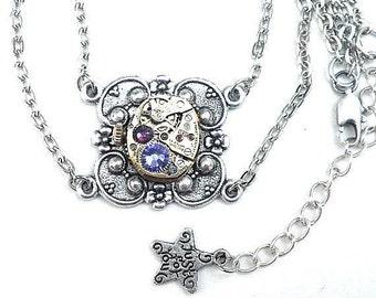SALE, Steampunk Necklace, Vintage Gold Watch Movement, Ruby Jeweled, Tanzanite & Amethyst Swarovski Crystals, Silver Tone Chain, OOAK