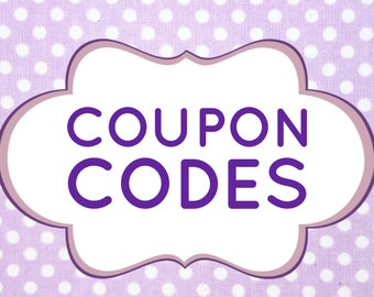 Coupon Codes - Do not purchase this listing