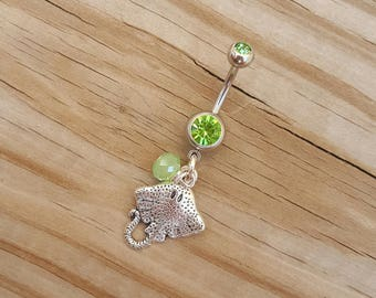 Stingray Fish Belly Button Ring, Navel Ring, Sea Green Belly Button Jewelry, Body Jewelry, Beach Belly Ring, 14g Barbell, Belly Piercing.