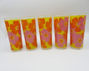 Mod Tropical Set of Five Tom Collins Glasses Bold Pink Orange and Yellow Seventies