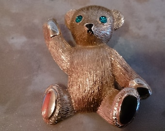 Teddy Bear Brooch, no markings, heavy piece, 1 1/2 x 1 1/2 inches