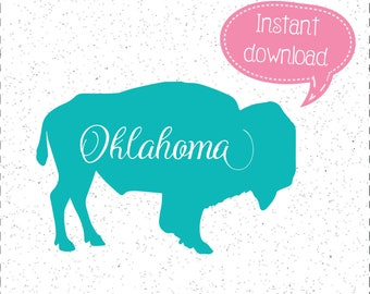 Oklahoma Buffalo SVG, Buffalo SVG, Buffalo SVGs, Oklahoma SVG, Oklahoma SVGs, SVGs, Cricut Cut File, Silhouette File
