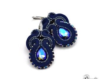 Dangle Drop Earrings, Navy Blue Elegant Earrings, Soutache Earrings, Handmade Earrings, Navy Blue Earrings, Unique Earrings,Silver Earrings
