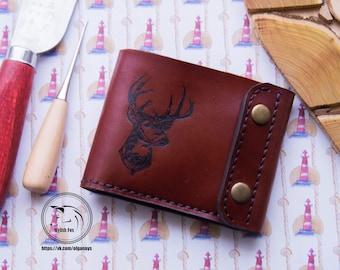 Men's wallet with deer. Purse