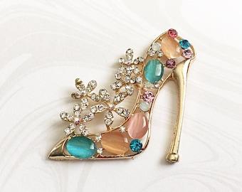 2 High Heel Shoes, Gold Embellishment,  Shoe Cabochon, Rhinestone Embellishment,  43mm x 42mm, GTP009