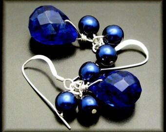 FRESH BLUEBERRIES ~ Sapphire Blue Quartz, Freshwater Pearl Sterling Earrings
