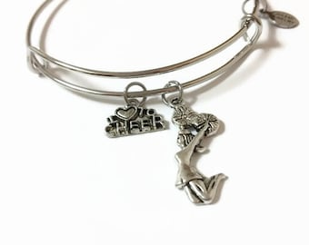I Love to Cheer Expandable Bracelet Cheerleader Bangle Bracelet Cheerleading Charm Bangle Cheerleader Adjustable Steel Wire Charm Bangle