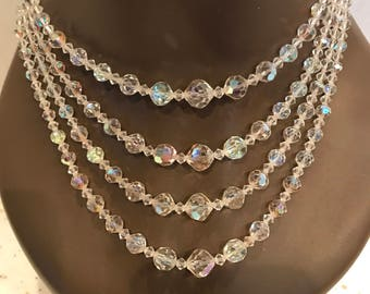 Gorgeous Four Strand Faceted Aurora Borealis Crystal Bead Necklace