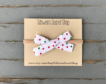 Christmas baby headband, hand tied bow, baby girl bow, nylon headband, baby bow headband, school girl bow, baby headband, baby hair bow