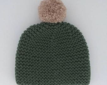 Sauge knitted beanie with champignon pompon