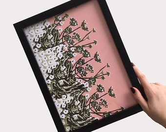 A4 'Thea' Floral Print in Pink and Green - Unframed