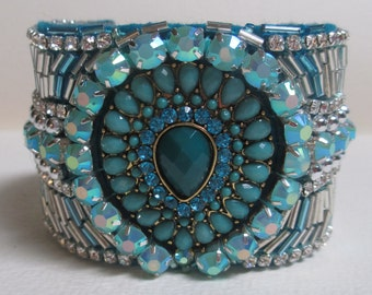 Cuff Bracelet Beaded Blue Aqua Turquoise Fabric Fabulous