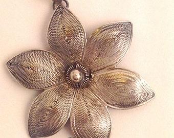 Sterling Silver Filigree Flower 33mm