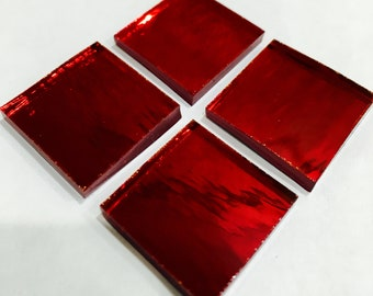 MiRROR - ALL SIZES Red Candy Apple Colored Glass Tile & Borders M10